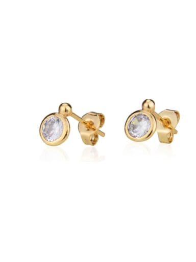 Brass Cubic Zirconia Round Minimalist Stud Earring