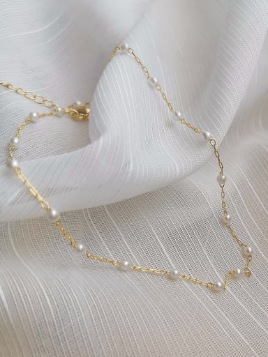 Copper Alloy Imitation Pearl White Geometric Trend Necklace