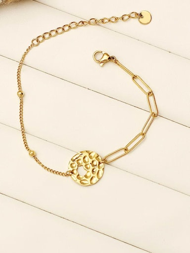 Wafer knock pattern Stainless steel Hollow Geometric Vintage Link Bracelet