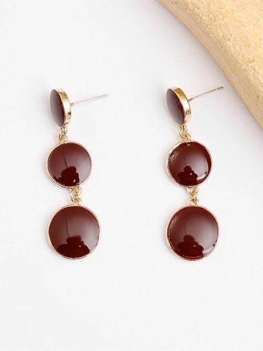 14K gold wine red Copper Enamel Geometric Vintage Drop Earring