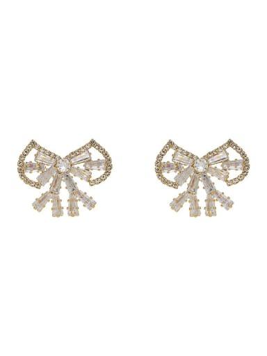 Copper Cubic Zirconia Bowknot Dainty Stud Earring