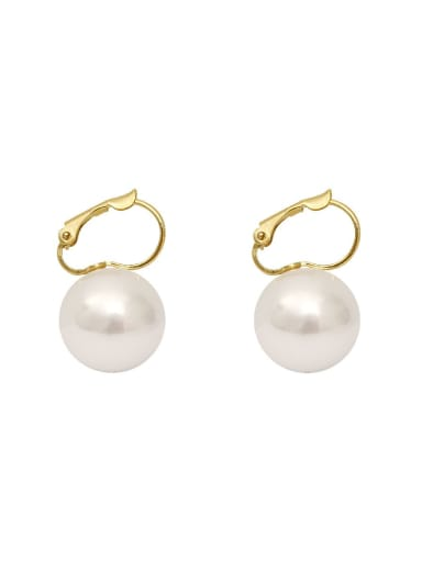 Copper Imitation Pearl Geometric Minimalist Huggie Earring