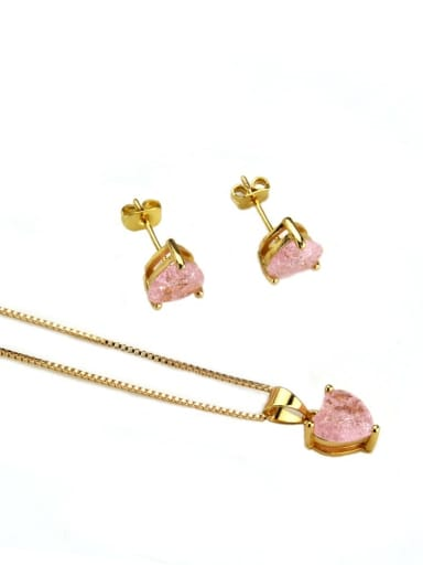 Gold Plated zircon Brass Heart Cubic Zirconia Earring and Necklace Set
