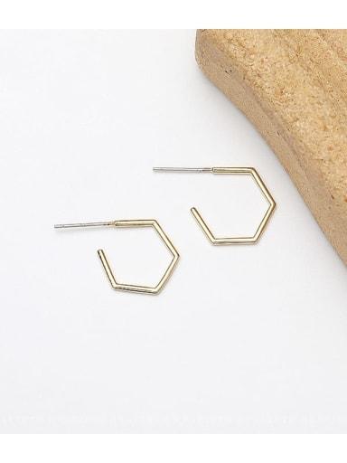14K gold Copper Geometric Luxury Stud Earring