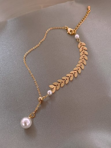 Alloy+Bracelet(a) Titanium Imitation Pearl White Feather Trend Lariat Necklace