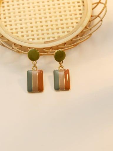 Avocado Green Copper Enamel Geometric Vintage Drop Earring