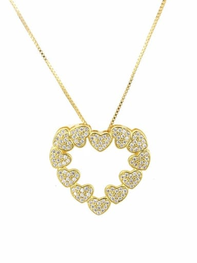 gold-plated Brass Cubic Zirconia Heart Minimalist Necklace