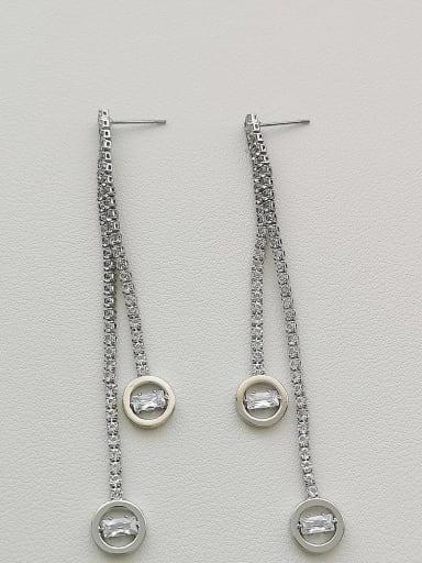 White K Copper Cubic Zirconia Tassel Dainty Drop Earring