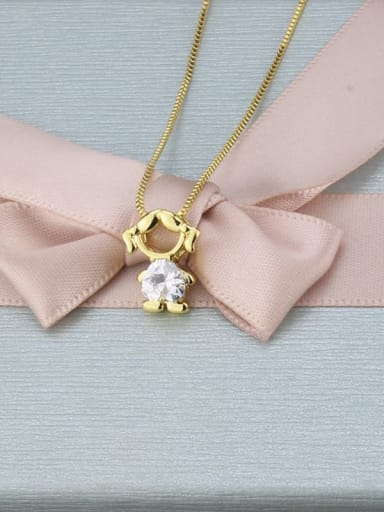 Brass Cubic Zirconia Angel Minimalist Initials Necklace