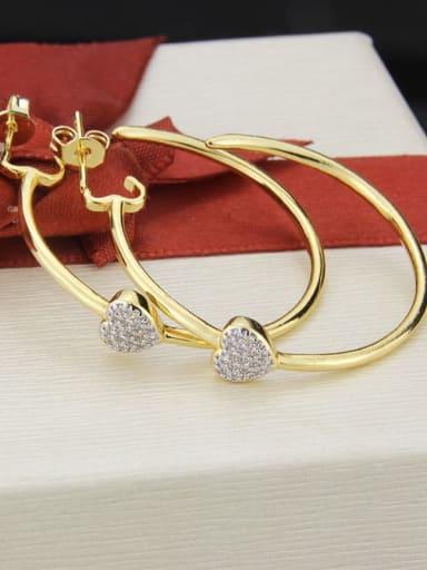gold-plated Brass Cubic Zirconia Heart Minimalist Hoop Earring