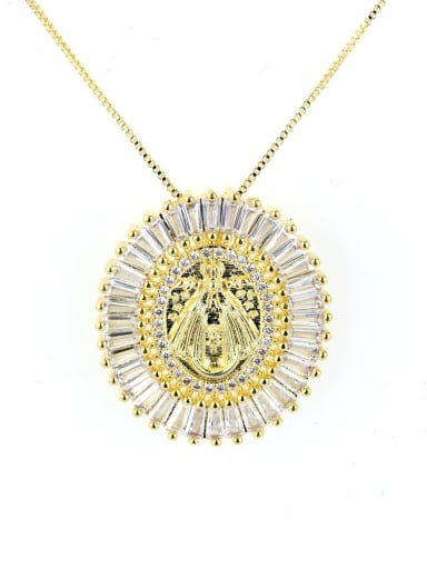 Gold plating Brass Cubic Zirconia Round Vintage Regligious Necklace