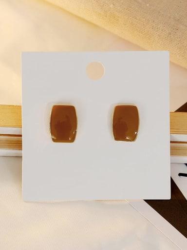 Light brown Copper Enamel Geometric Vintage Stud Earring