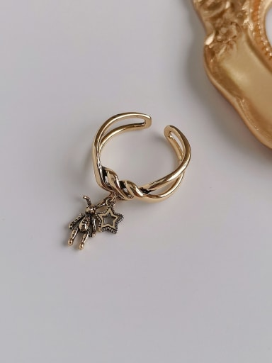Ancient gold Copper Rhinestone  Retro Twisted Rabbit Star  Ring