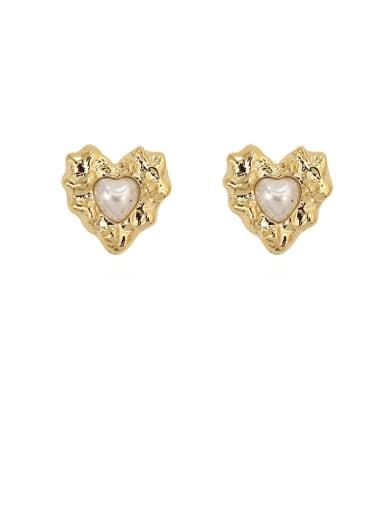 Copper Imitation Pearl Heart Vintage Stud Earring