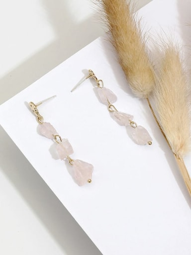 Pink Crystal Copper Crystal Irregular Dainty Drop Earring