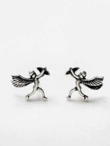 Ancient silver Copper Angel Cute Stud Earring