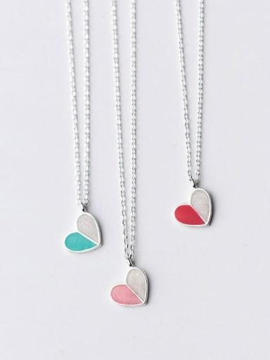 Zinc Alloy Pink Enamel Heart Classic Necklace