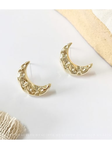 14K gold Copper  Smooth Moon Ethnic Stud Earring