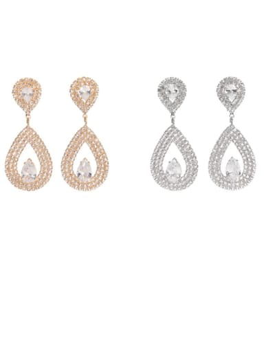 Copper  Cubic Zirconia Water Drop Dainty Stud Earring