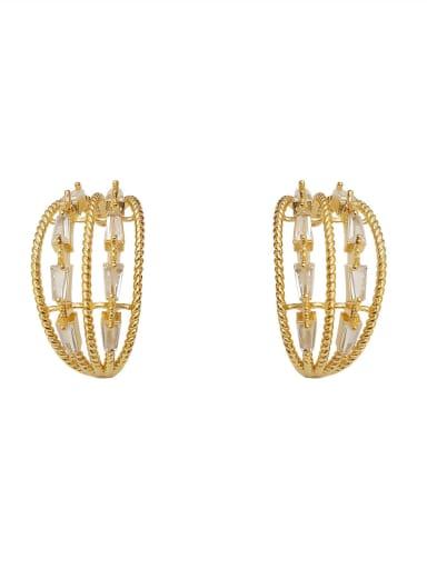Copper Cubic Zirconia Geometric Minimalist Stud Earring