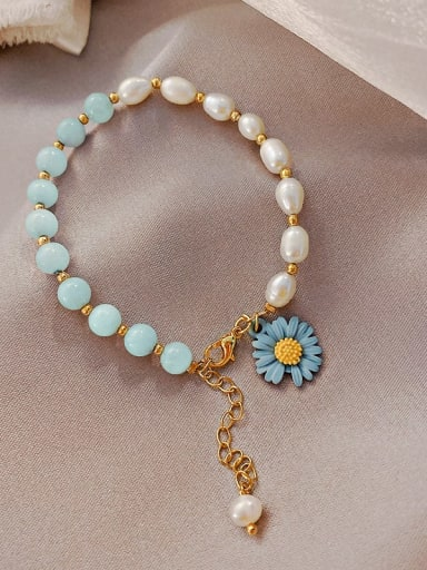 blue Alloy Imitation Pearl Flower Ethnic Adjustable Bracelet