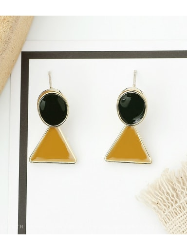 Coffee color Copper Enamel Triangle Minimalist Stud Earring
