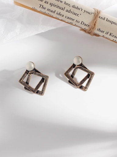 Copper Hollow Geometric Vintage Stud Earring