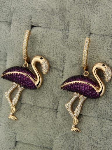 Flamingo Earrings Brass Flamingo Cubic Zirconia Earring and Necklace Set