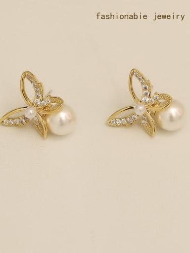 Copper Imitation Pearl Butterfly Minimalist Stud Earring