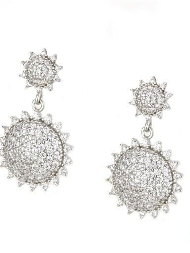 Platinum plated white Brass Cubic Zirconia Geometric Vintage Drop Earring