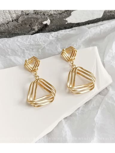 Dumb gold Copper Hollow Triangle Minimalist Drop Earring