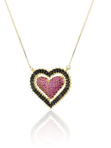 Zircon powder Brass Cubic Zirconia Heart Luxury Necklace