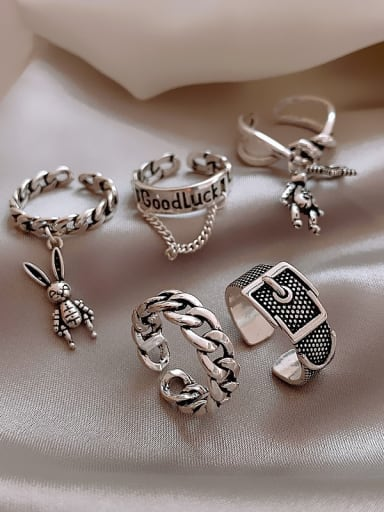 Alloy +Star With Rabbit Trend Band Ring/Free Size Ring