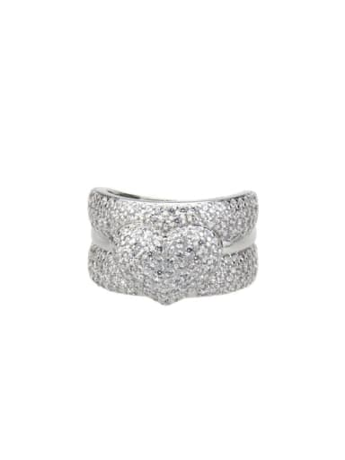 White zirconium plating Brass Cubic Zirconia Heart Luxury Band Ring