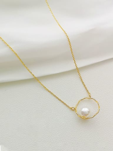 Copper Imitation Pearl Round Dainty Necklace