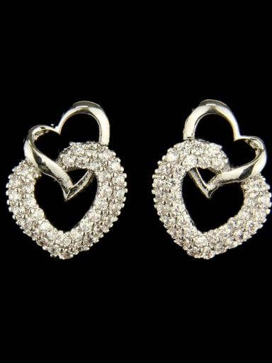 Brass Cubic Zirconia Heart Luxury Drop Earring