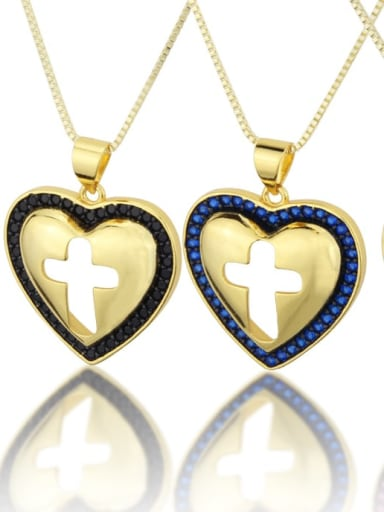 Brass Cubic Zirconia Heart Minimalist Regligious Necklace