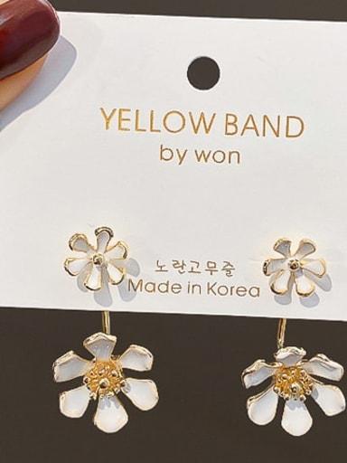 Mixed Metal Gold Flower Cute Huggie Earring
