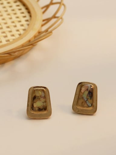 colour Copper Shell Geometric Vintage Stud Earring