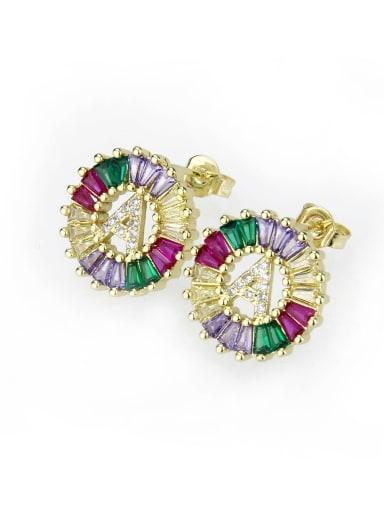 Brass Cubic Zirconia Letter Dainty Stud Earring