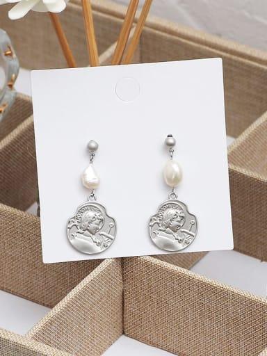 Dumb Silver Copper Imitation Pearl Geometric Ethnic Drop Earring