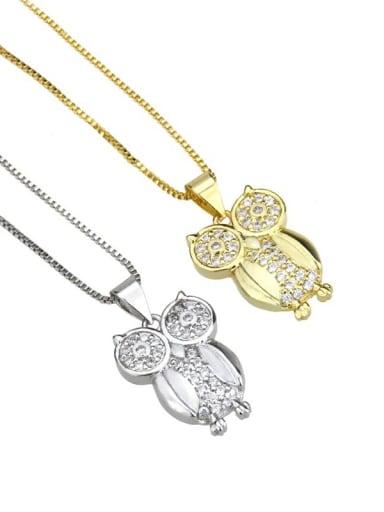 Brass Cubic Zirconia Owl Cute Necklace