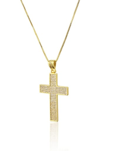 Gold plated white zircon Brass Cubic Zirconia Religious Dainty Necklace