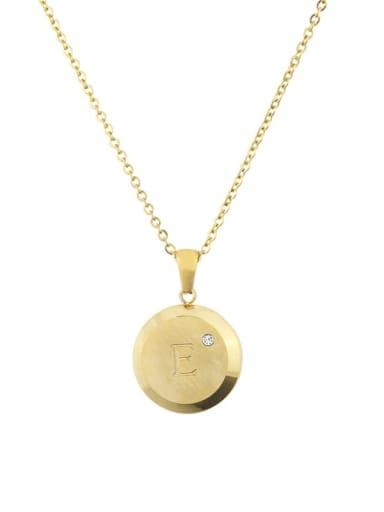 E Titanium Rhinestone 26 Letter Minimalist Initials Necklace