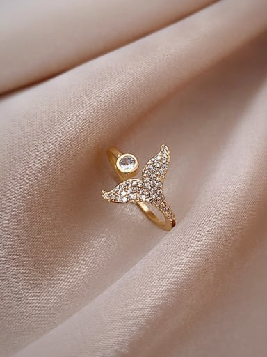golden Copper Cubic Zirconia White Fish Trend Band Ring/Free Size Ring