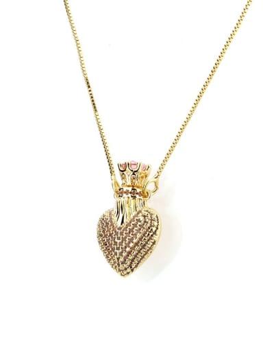 Pink Brass Cubic Zirconia Heart Dainty Necklace