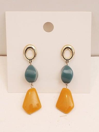 yellow Copper Resin Geometric Minimalist Drop Earring