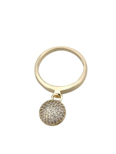 Brass Cubic Zirconia Ball Vintage Band Ring
