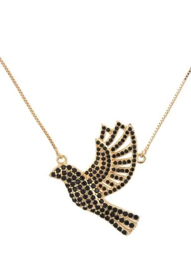 Gold Plated Black zircon Brass Cubic Zirconia Bird Dainty Necklace