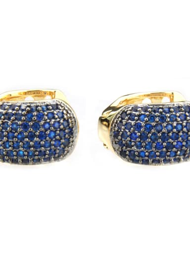 Gold Plated Blue Zircon Brass Cubic Zirconia Round Minimalist Clip Earring